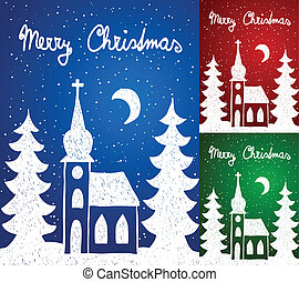 Christmas church and trees, hand - drawn style