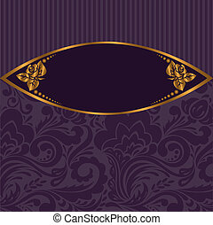 gilt vignette on purple - gilt vignette with roses on a...