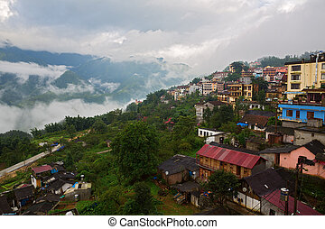 City of Sapa - Sapa with clouds and mist, lao cai, vietnam...