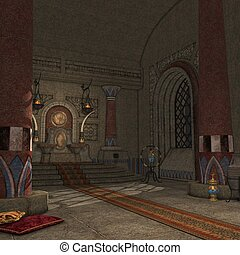 Fantasy Throne Room - 3D Render of an Fantasy Throne Room