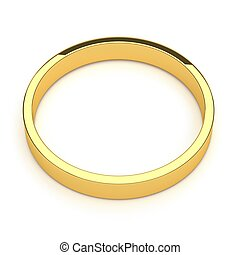 isolated gold ring, for conceptual usage, 3d rendering.