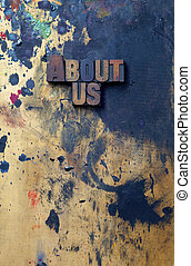 About Us - The words Abpuot Us written in antique...