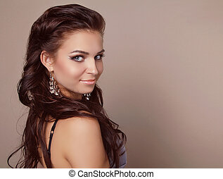 Attractive smiling woman portrait with hair style