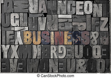 Business - The word business written out in old letterpress...