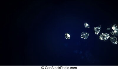 Diamonds Falling - Shiny 3D Diamonds falling on a dark blue...