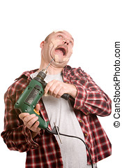Dangerous drill machine - Clumsy handyman struggling with...