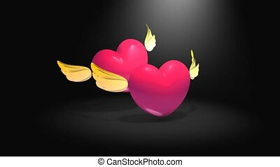 Flying heart - Heart shape with cute wings flying with green...