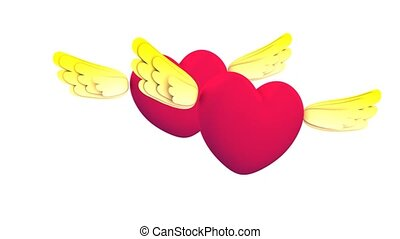 Flying heart - Heart shape with  cute wings flying.