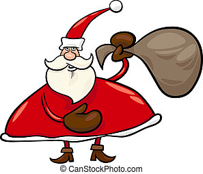 santa claus with sack cartoon illustration - Cartoon...
