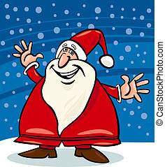 santa claus and snow cartoon illustration - Cartoon...