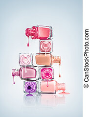 Nail Polish - Nail polish dripping from stacked bottles