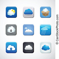 cloud app icons - transfer files, cloud computing app vector...