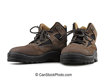 safety shoes on white background clipping path