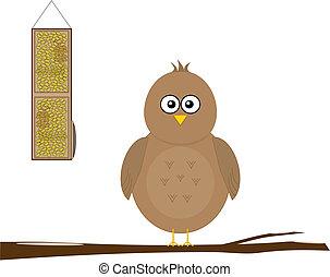 Bird with feeder