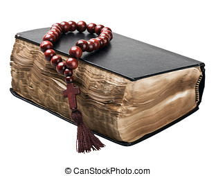 Bible and rosary - Bible and rosary isolated on white...