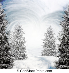 fantasy background with snow ice and trees in a hart shape...