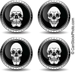 Icon with skull, vector illustration.