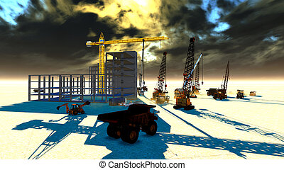 Construction site - Sunset over construction site in desert