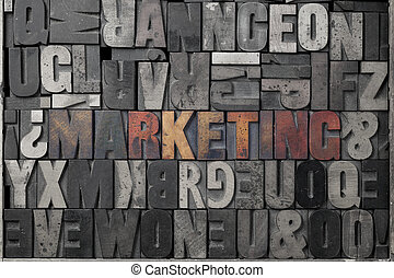 Marketing - The word marketing written out in old...