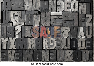 Sale - The word sale written out in old letterpress blocks