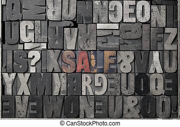 Sale - The word sale written out in old letterpress blocks.