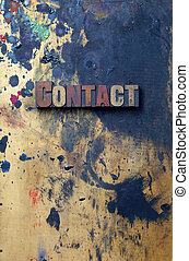 Contact - The word Contact written in antique letterpress...