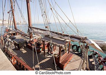 anchored schooner at Santander bay