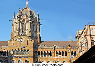 Famous Victoria Terminus Train Station in Mumbai, India