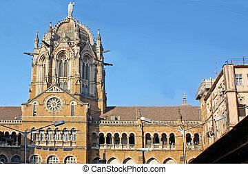 Famous Victoria Terminus Train Station in Mumbai, India