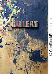 Logo - The word Gallery written in antique letterpress...