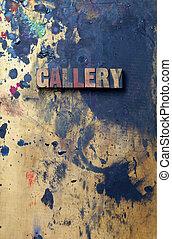 Logo - The word Gallery written in antique letterpress...