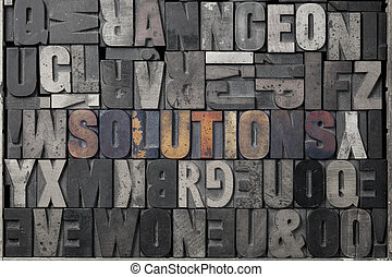 Solutions - The word solutions written out in old...
