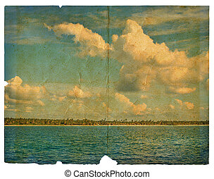 Landscape on old paper