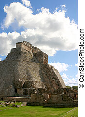 Uxmal maya pyramid - Main round pyramid on mayan site over...