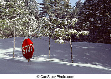 Snow-buried Stop Sign #2 - Deep snow buries a Stop Sign,...