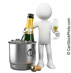 3D white people. Bottle of champagne in bucket - 3d white...