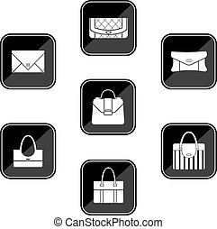 Set of black icons with bags - Vector illustration. It is...