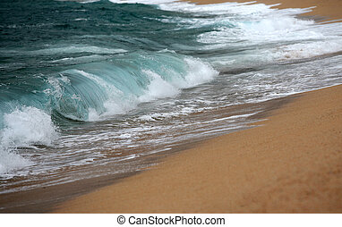 Wave crashing - Big wave crashing towards the shore,...