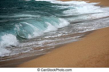 Wave crashing - Big wave crashing towards the shore,...