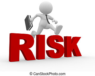 Businessman - 3d people - man, person jumping over word risk...