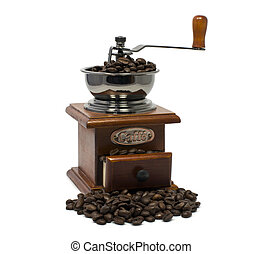old coffee grinder with beans isolated on white