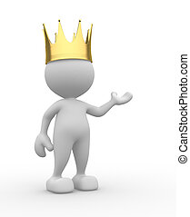 King - 3d people - man, person with a golden crown. King