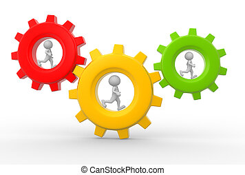Gear mechanism - 3d people - man, person with briefcase...