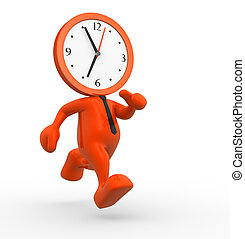 Clock - 3d people - man, person running out of time. A clock...