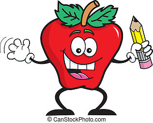 Cartoon Apple Studen - Cartoon illustration of a apple...