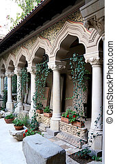 Cloister in the Stavropoleos monastery of Bucharest