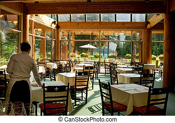 Rocky Mountain restaurant by glacier lake