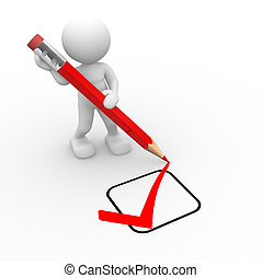 Checklist - 3d people - man, person with a big pencil and a...