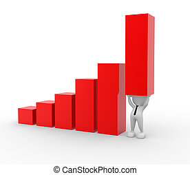 Bar graph - 3d people - man, person holding up a bar graph,...