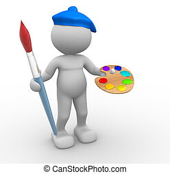 Painter - 3d people - man, person with paintbrush. Painter